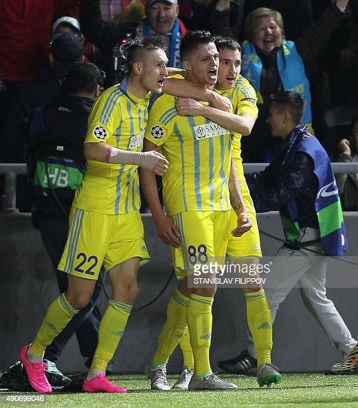 Astana's players celebrate a goal during the UEFA Champions League group C football match between FC Astana and Galatasaray AS at the Astana Arena...