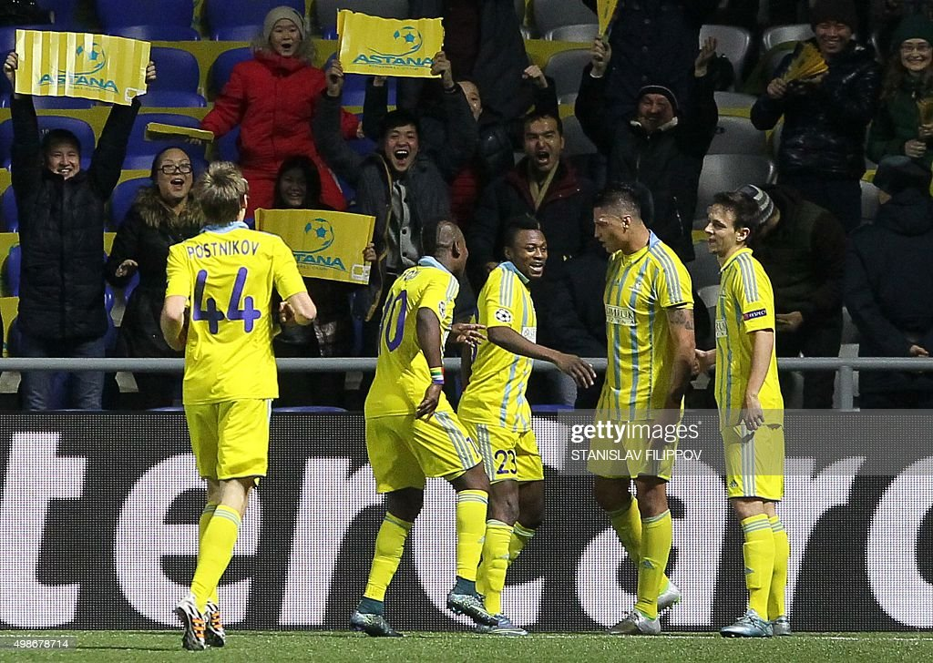 Astana's players celebrate a goal during the UEFA Champions League group C football match between FC Astana and SL Benfica at the Astana Arena...