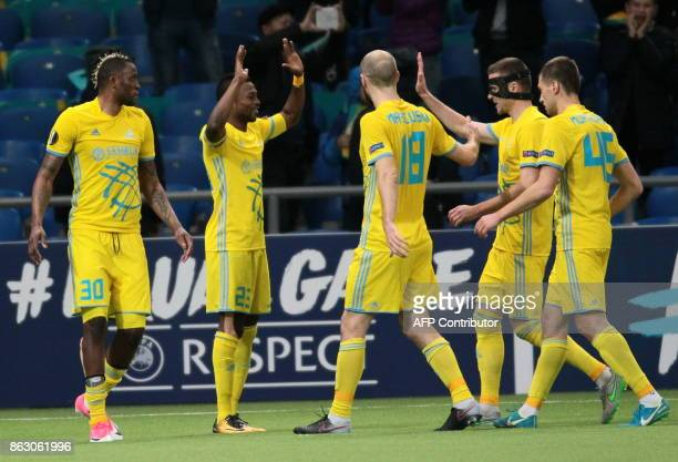 Astana's players celebrate a goal during the UEFA Europa League Group A football match between FC Astana and Maccabi TelAviv FC at the Astana Arena...