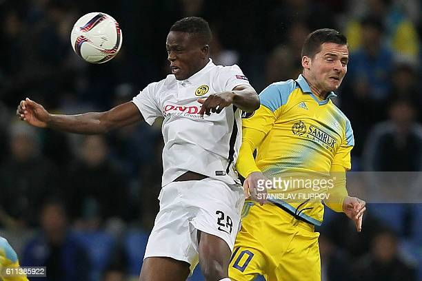 FC Astana's Serbian forward Djordje Despotovic vies with BSC Young Boys' Swiss midfielder Denis Zakaria during the UEFA Europa League group B...