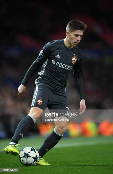 Astemir Gordyushenko of CSKA Moskva runs with the ball during the UEFA Champions League group A match between Manchester United and CSKA Moskva at...
