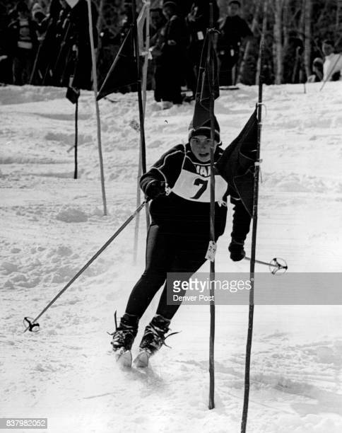 Aster Than US Olympian Olympic silver medal winner Marielle Goitschel of France zips down Vail slalom course for a combined time of 99 seconds flat...