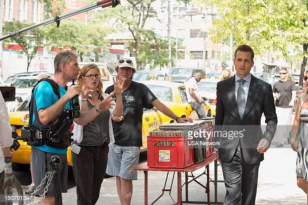 SUITS 'Asterisk' Episode 209 Pictured Director Jennifer Getzinger Gabriel Macht as Harvey Specter