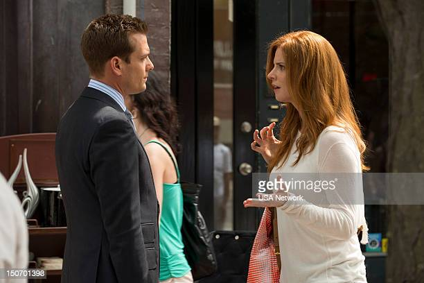 SUITS 'Asterisk' Episode 209 Pictured Gabriel Macht as Harvey Specter Sarah Rafferty as Donna Paulsen