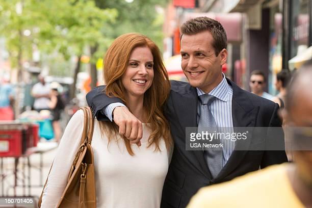 SUITS 'Asterisk' Episode 209 Pictured Sarah Rafferty as Donna Paulsen Gabriel Macht as Harvey Specter