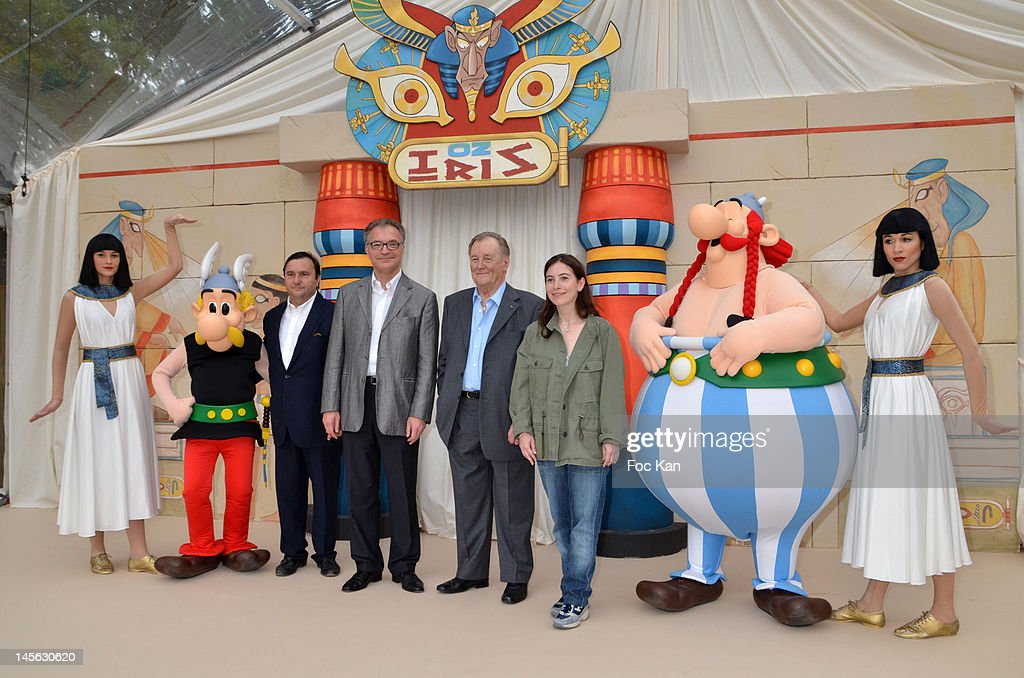 Asterix Director Pascal Fliche,Asterix and Parcs CEO Olivier Garaialde, Asterix creator/cartoonist Albert Uderzo and Asterix writer Anne Goscinny attend the 'Oziriz' New Game Launch at the Parc Asterix on June 2, 2012 in Paris, France.