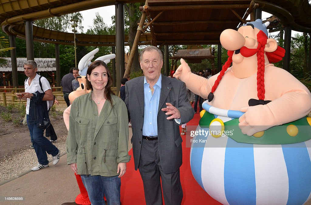 Asterix writer Rene Goscinny's daughter Anne Goscinny and Asterix co-creator/cartoonist Albert Uderzo attend the 'Oziriz' New Game Launch at the Parc Asterix on June 2, 2012 in Paris, France.