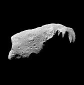 This view of the asteroid 243 Ida is a mosaic of five image frames acquired by the Galileo spacecraft. Ida is the second asteroid ever encountered by a spacecraft. It appears to be about 52 kilometers