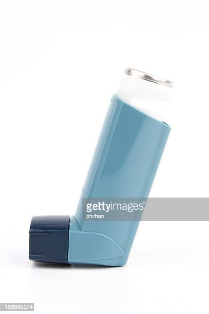 Asthma inhaler with a blue cover
