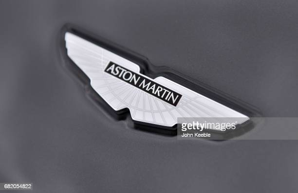 Aston Martin bonnet badge on display at the London Motor Show at Battersea Evolution on May 4 2017 in London England 41 dealerships and manufacturers...
