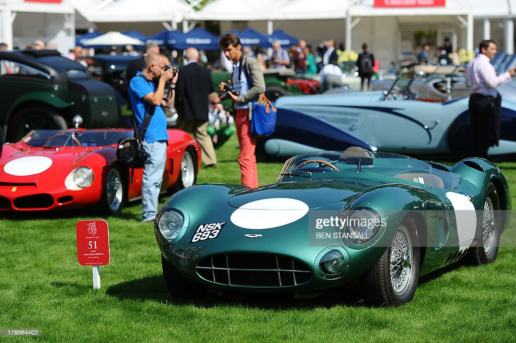 Aston Martin DBR1/4 is seen during St James's Concours of Elegance on the Royal Lawns in the grounds of Marlborough House in central London on September 5, 2013. Concours dElegance date from 17th Century France where the aristocracy paraded their ornate horse-drawn carriages through the parks of Paris. Today, classic cars have replaced the carriages in this British event. AFP PHOTO / BEN STANSALL