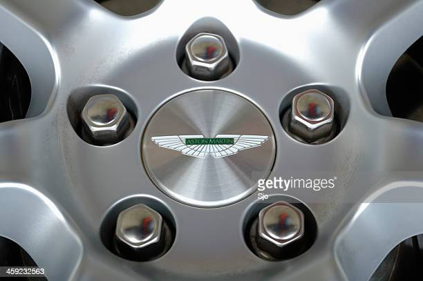 Aston Martin wheel close up with wheelnuts and Aston logo