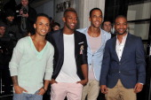 Aston Merrygold JB Gill Marvin Humes and Oritse Williams of JLS attend the shortlist announcement of The BRIT Awards 2012 at The Savoy Hotel on...