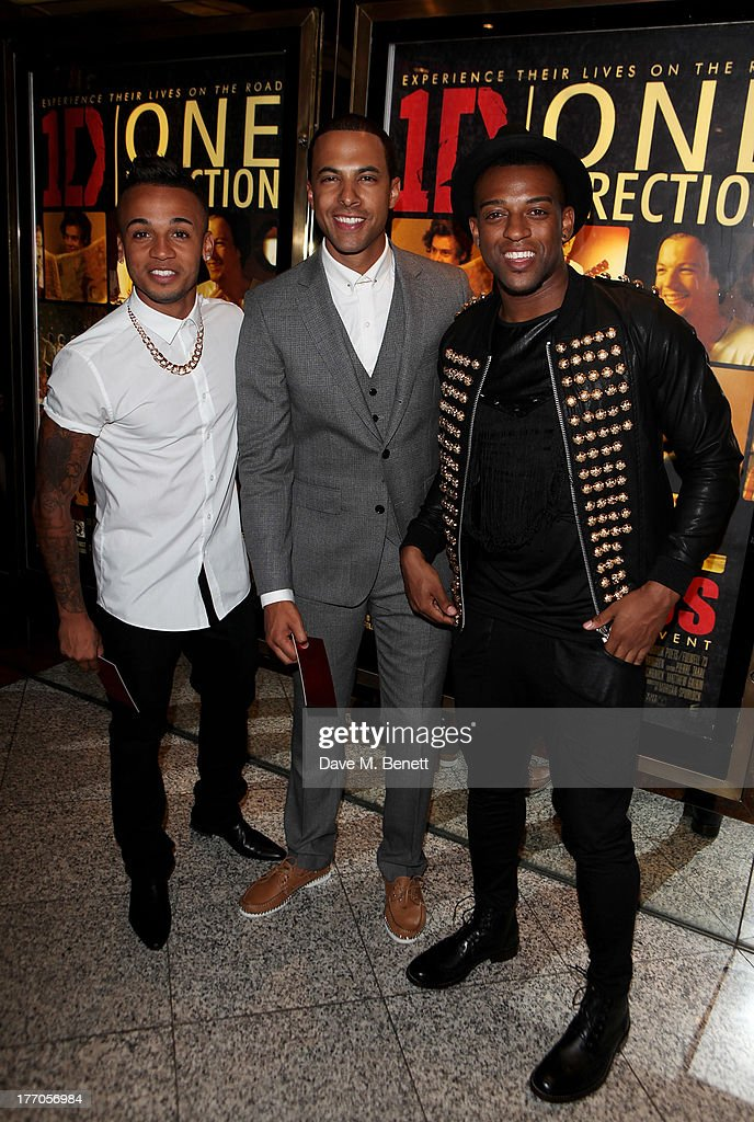 <a gi-track='captionPersonalityLinkClicked' href=/galleries/search?phrase=Aston+Merrygold&family=editorial&specificpeople=5739699 ng-click='$event.stopPropagation()'>Aston Merrygold</a>, <a gi-track='captionPersonalityLinkClicked' href=/galleries/search?phrase=Marvin+Humes&family=editorial&specificpeople=2887070 ng-click='$event.stopPropagation()'>Marvin Humes</a> and <a gi-track='captionPersonalityLinkClicked' href=/galleries/search?phrase=Oritse+Williams&family=editorial&specificpeople=5739700 ng-click='$event.stopPropagation()'>Oritse Williams</a> attend the World Premiere of 'One Direction: This Is Us 3D' at Empire Leicester Square on August 20, 2013 in London, England.