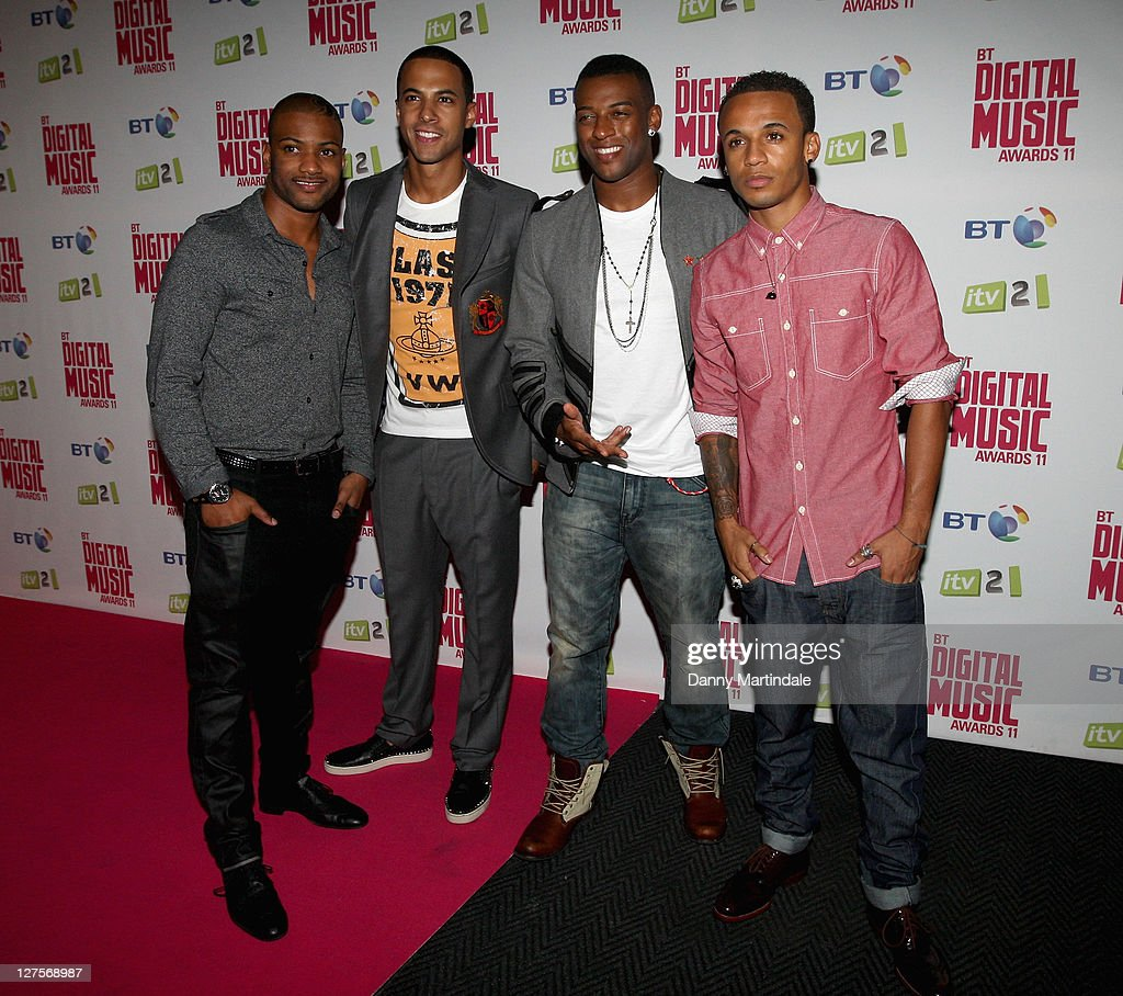 <a gi-track='captionPersonalityLinkClicked' href=/galleries/search?phrase=Aston+Merrygold&family=editorial&specificpeople=5739699 ng-click='$event.stopPropagation()'>Aston Merrygold</a>, <a gi-track='captionPersonalityLinkClicked' href=/galleries/search?phrase=Marvin+Humes&family=editorial&specificpeople=2887070 ng-click='$event.stopPropagation()'>Marvin Humes</a>, <a gi-track='captionPersonalityLinkClicked' href=/galleries/search?phrase=Oritse+Williams&family=editorial&specificpeople=5739700 ng-click='$event.stopPropagation()'>Oritse Williams</a> and JB Gill from the boy band JLS attend BT Digital Music Awards at The Roundhouse on September 29, 2011 in London, England.