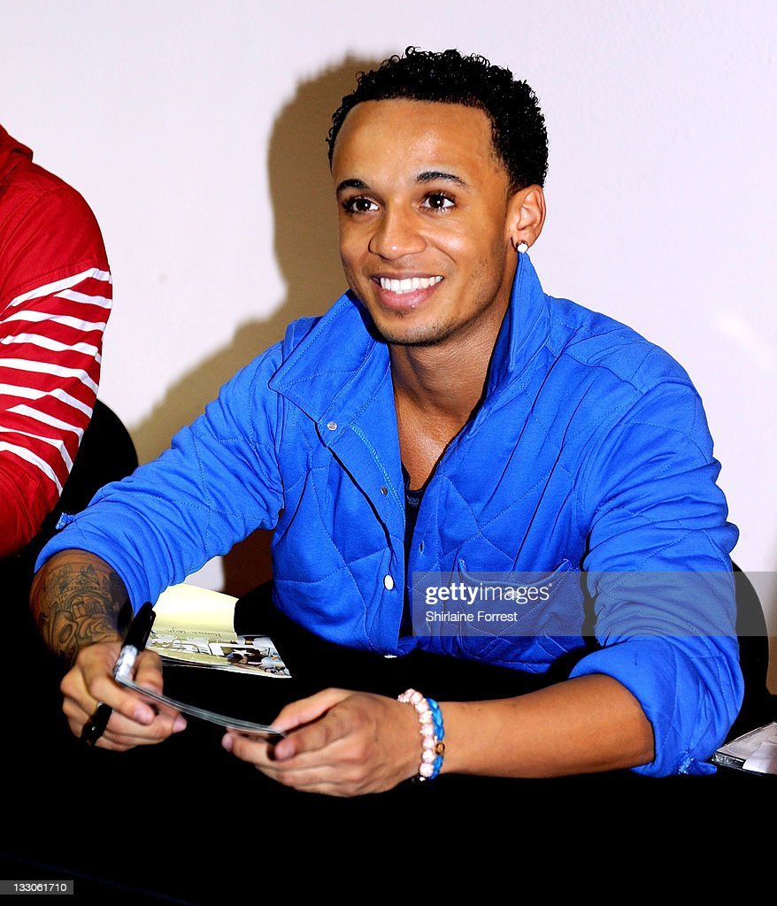 Aston Merrygold of JLS meets fans and signs copies of their new album 'Jukebox' at HMV on November 16, 2011 in Manchester, England.