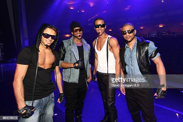 Aston Merrygold Oritse Williams Jonathan 'JB' Gill and Marvin Humes of JLS poseonstage in these pictures released on February 1 2010 at an...