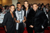 Aston Merrygold Oritse Williams Marvin Humes and Jonathan 'JB' Gill of JLS arrive at the MOBO Awards 2010 held at The Echo Arena on October 20 2010...