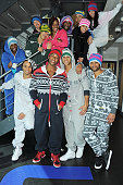 Aston Merrygold Oritse Williams Marvin Humes and Jonathan 'JB' Gill of JLS pose with dancers as they prepare to embark on their upcoming 'The 4th...