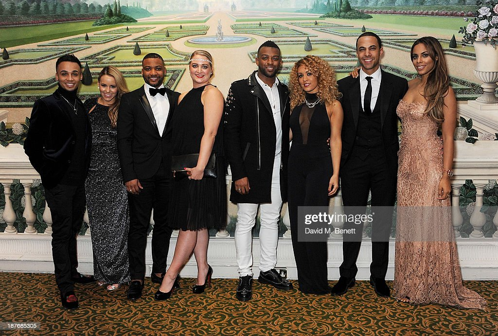 <a gi-track='captionPersonalityLinkClicked' href=/galleries/search?phrase=Aston+Merrygold&family=editorial&specificpeople=5739699 ng-click='$event.stopPropagation()'>Aston Merrygold</a>, Sarah Richards, Jonathan 'JB' Gill, Chloe Tangey, <a gi-track='captionPersonalityLinkClicked' href=/galleries/search?phrase=Oritse+Williams&family=editorial&specificpeople=5739700 ng-click='$event.stopPropagation()'>Oritse Williams</a>; AJ Azari, <a gi-track='captionPersonalityLinkClicked' href=/galleries/search?phrase=Marvin+Humes&family=editorial&specificpeople=2887070 ng-click='$event.stopPropagation()'>Marvin Humes</a> and Rochelle Humes attend the BBC Children in Need Gala hosted by Gary Barlow at The Grosvenor House Hotel on November 11, 2013 in London, England.