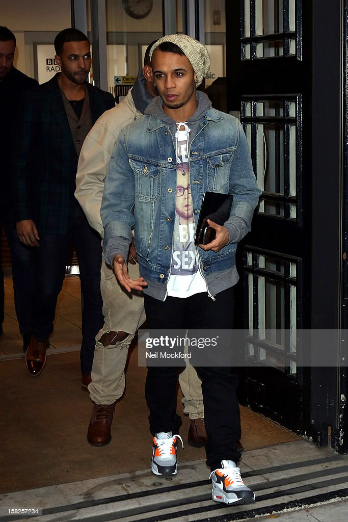 Aston Merrygold seen at BBC Radio One on December 12, 2012 in London, England.