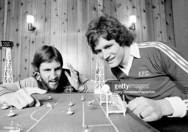 Football March 1977 Aston Villa's Chris Nicholl has a shot saved by Everton's Mike Lyons while they play Subbuteo