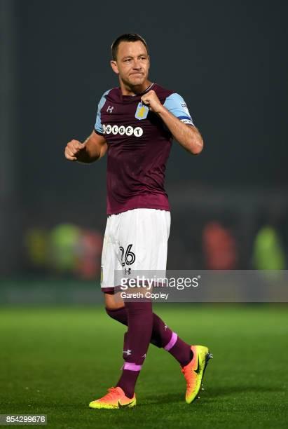 Aston Villa captain John Terry celebrates after winning the Sky Bet Championship match between Burton Albion and Aston Villa at Pirelli Stadium on...