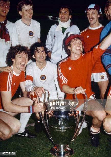 Aston Villa celebrate with the trophy after victory in the Aston Villa v Bayern Munich European Cup Final played at the De Kuip Stadium in Rotterdam...