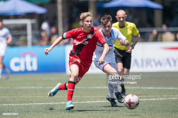 Aston Villa competes with Bayer Leverkusen for a ball during their Main Tournament match part of the HKFC Citi Soccer Sevens 2017 on 27 May 2017 at...