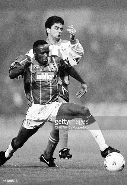 Aston Villa defender Earl Barrett is challenged by Deportivo La Coruna striker Bebeto during the UEFA Cup 2nd round 2nd leg match at Villa Park in...
