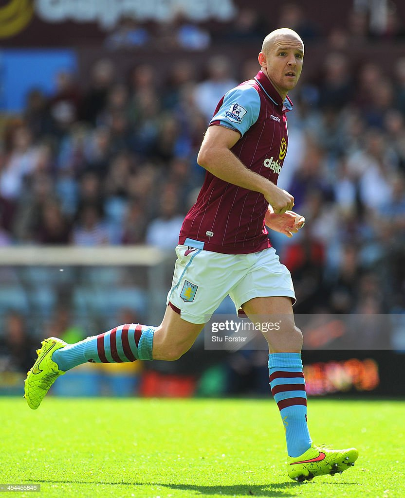 Aston Villa defender Phillippe Senderos in action during the Barclays Premier League match between Aston Villa and Hull City at Villa Park on August 31, 2014 in Birmingham, England.