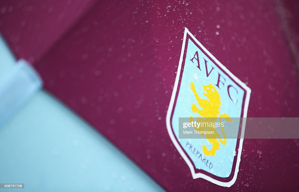 Aston Villa emblem is seen prior to the Barclays Premier League match between Aston Villa and Norwich City at Villa Park on February 6, 2016 in Birmingham, England.