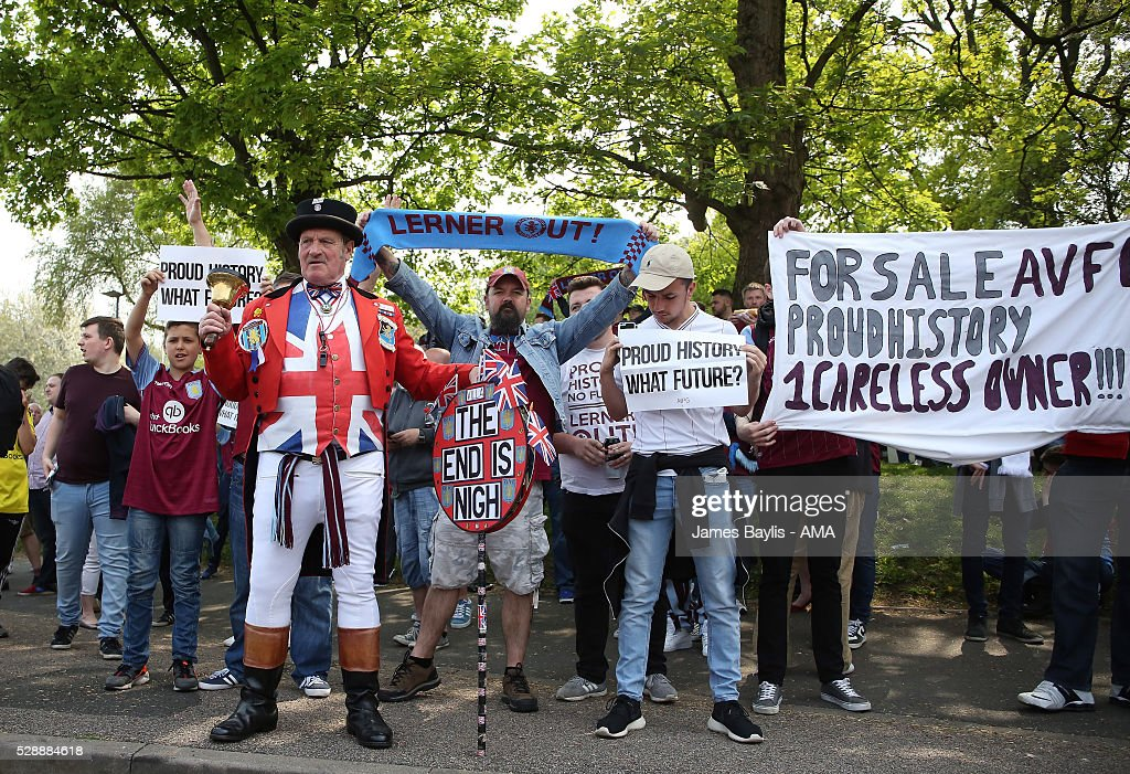 Aston Villa fans led by Ray Egan (AKA John Bull) protest to owner Randy Lerner before the Barclays Premier League match between Aston Villa and Newcastle United at Villa Park on May 7, 2016 in Birmingham, United Kingdom.