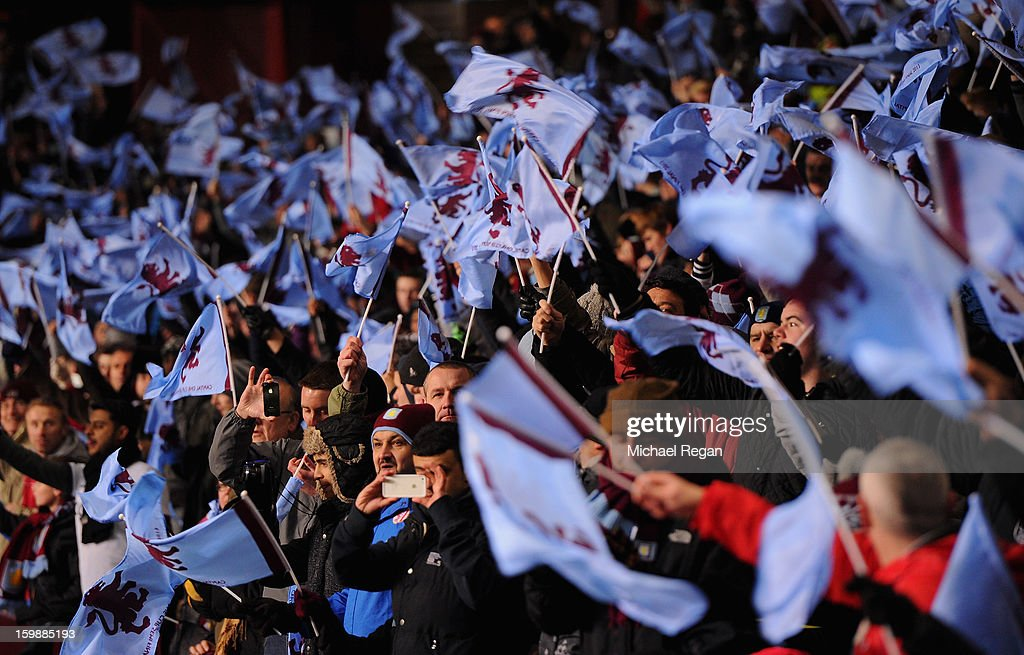 Aston Villa fans show their support prior to the Capital One Cup Semi-Final Second Leg between Aston Villa and Bradford City at Villa Park on January 22, 2013 in Birmingham, England.