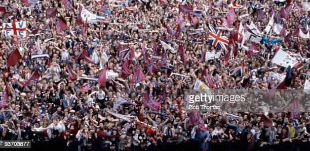 Aston Villa fans surround the Birmingham Town Hall during the reception for the Aston Villa players and officials after their victory in the European...