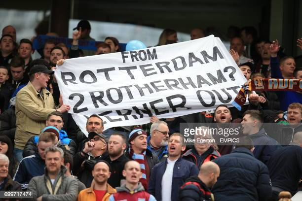 Aston Villa fans with a banner reading 'From Rotterdam 2 Rotherham Lerner Out' in the stands