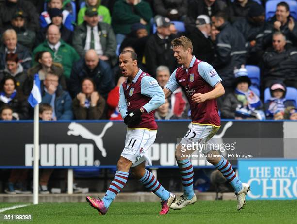 Aston Villa Gabriel Agbonlahor celebrates scoring his side's second goal of the game with teammate Nathan Baker