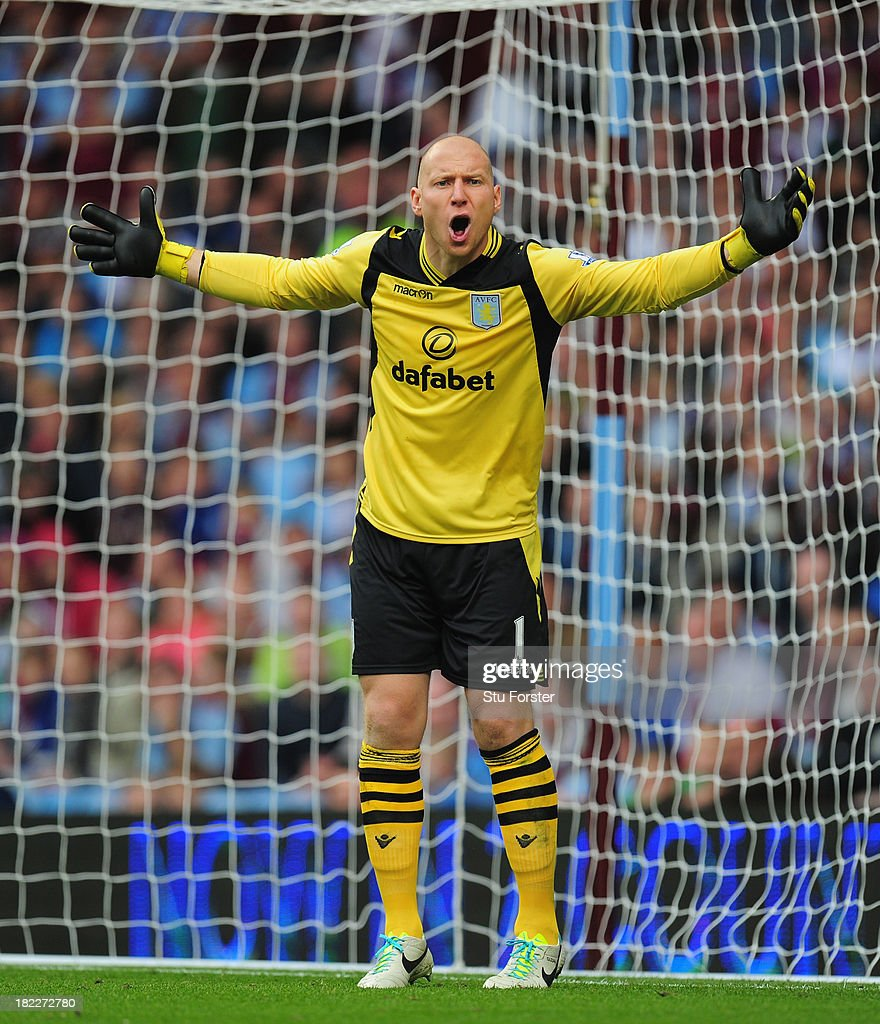 Aston Villa keeper <a gi-track='captionPersonalityLinkClicked' href=/galleries/search?phrase=Brad+Guzan&family=editorial&specificpeople=662127 ng-click='$event.stopPropagation()'>Brad Guzan</a> in action during the Barclays Premier League match between Aston Villa and Manchester City at Villa Park on September 28, 2013 in Birmingham, England.
