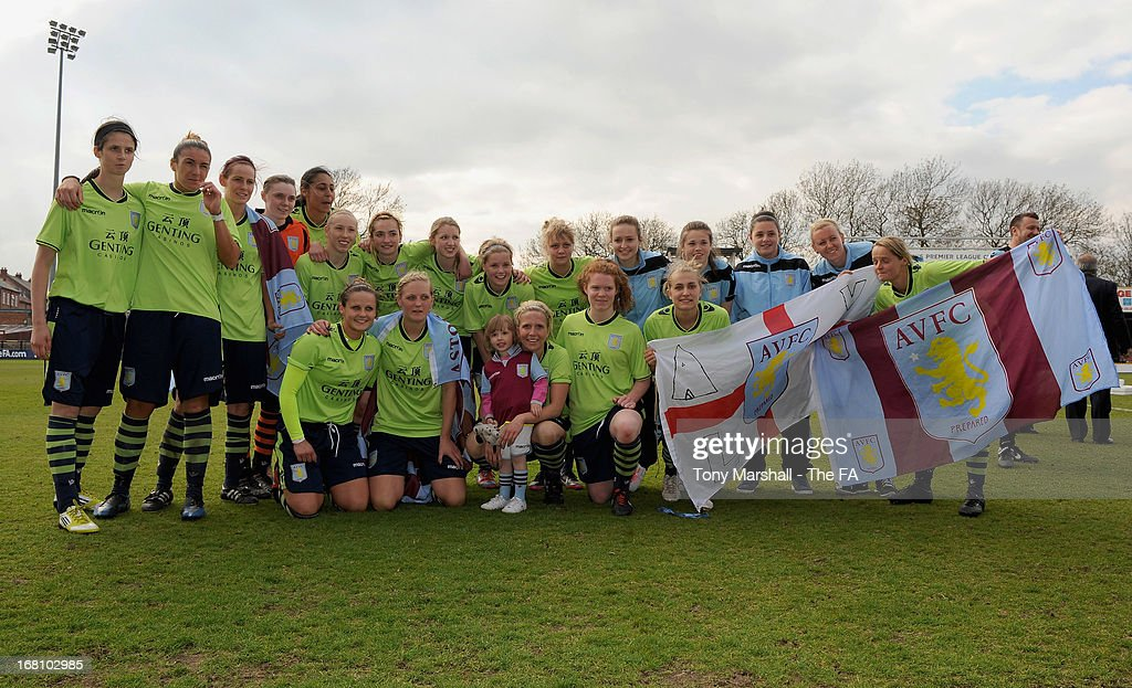 Aston Villa Ladies players celebrate after winning the FA Women's Premier League Cup Final between Aston Villa Ladies and Leeds United Ladies at Bootham Crescent Stadium on May 5, 2013 in York, England.