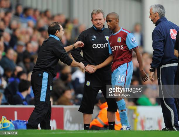 Aston Villa manager Martin O'Neill substitutes Fabian Delph during the Barclays Premier League match between Blackburn Rovers and Aston Villa at...