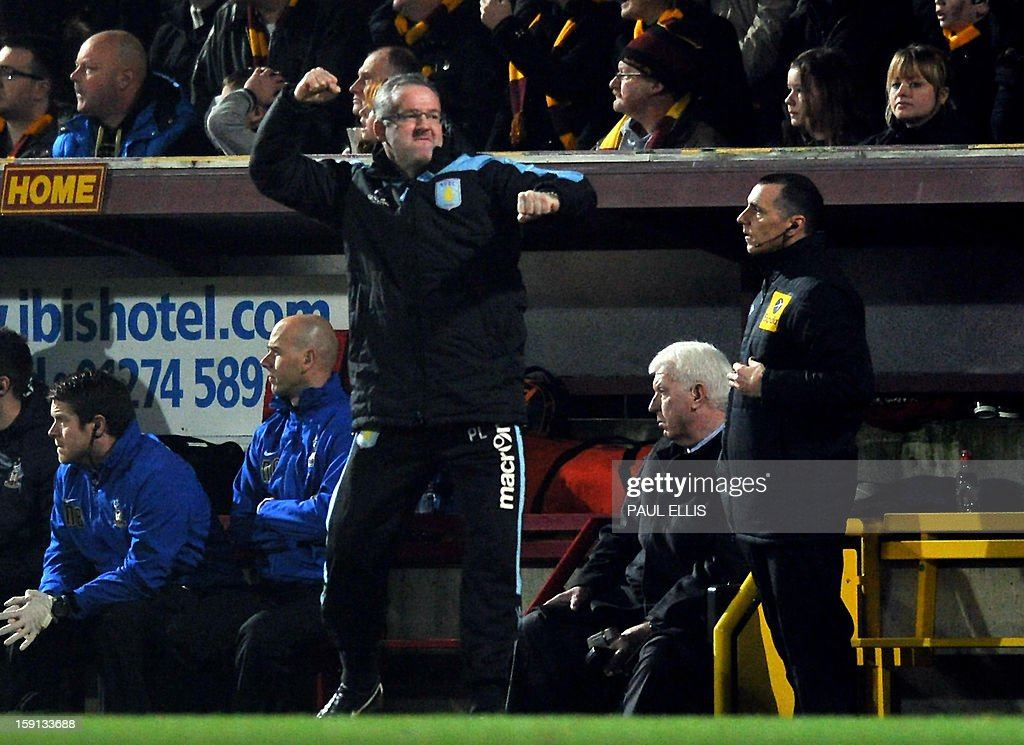 "Aston Villa manager Paul Lambert celebrates after his team scored a goal during the English League Cup first leg semi-final football match between Bradford City and Aston Villa at The Coral Windows Stadium in Bradford, England, on January 8, 2013. Bradford won the match 3-1. USE. No use with unauthorized audio, video, data, fixture lists, club/league logos or ""live"" services. Online in-match use limited to 45 images, no video emulation. No use in betting, games or single club/league/player publications."
