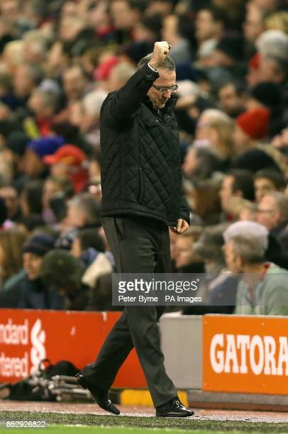 Aston Villa manager Paul Lambert celebrates on the touchline after Christian Benteke scores his side's second goal of the game