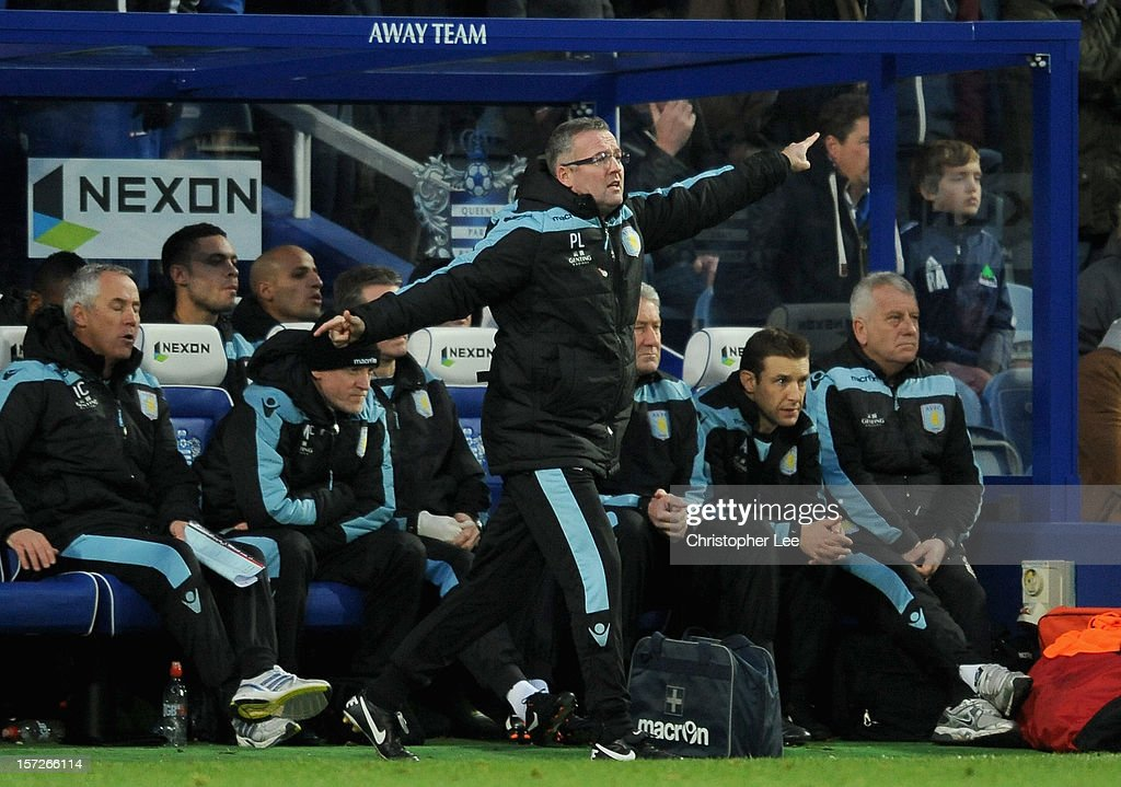 Aston Villa manager Paul Lambert directs his team during the Barclays Premier League match between Queens Park Rangers and Aston Villa at Loftus Road on December 1, 2012 in London, England.