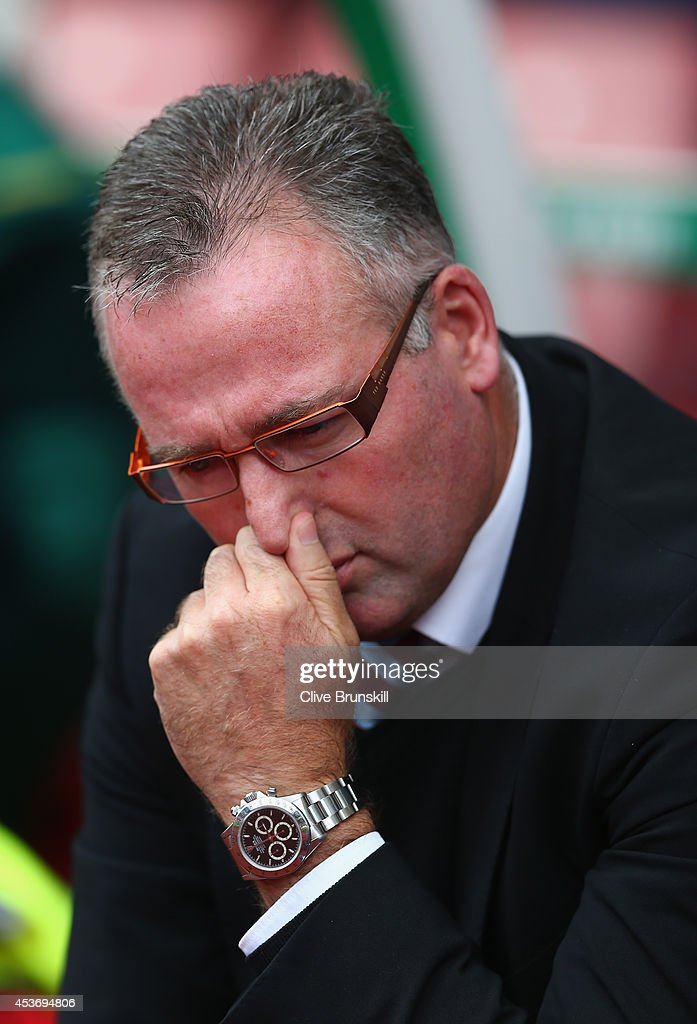 Aston Villa manager Paul Lambert during the Barclays Premier League match between Stoke City and Aston Villa at Britannia Stadium on August 16, 2014 in Stoke on Trent, England.
