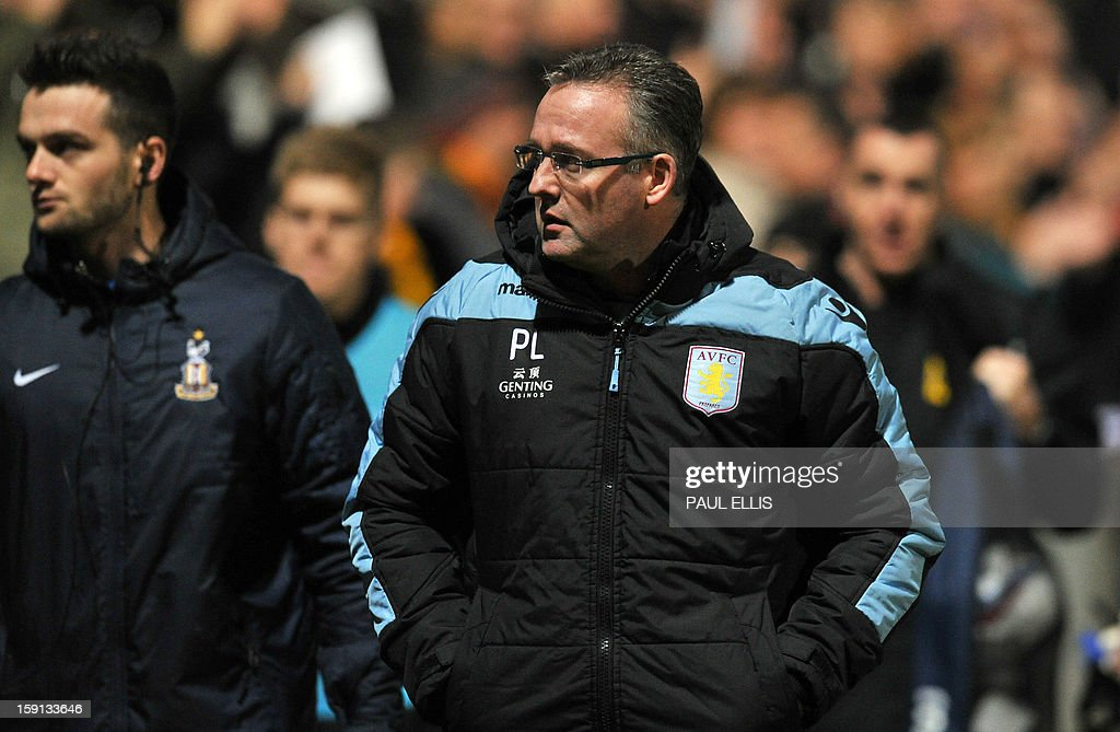 "Aston Villa manager Paul Lambert leaves the field at half time during the English League Cup first leg semi-final football match between Bradford City and Aston Villa at The Coral Windows Stadium in Bradford, England, on January 8, 2013. Bradford won the match 3-1. USE. No use with unauthorized audio, video, data, fixture lists, club/league logos or ""live"" services. Online in-match use limited to 45 images, no video emulation. No use in betting, games or single club/league/player publications."