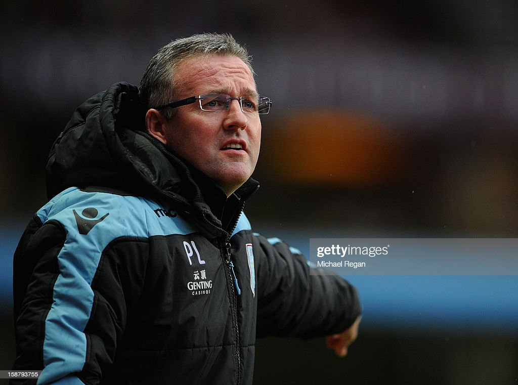 Aston Villa manager Paul Lambert looks on during the Barclays Premier League match between Aston Villa and Wigan Athletic at Villa Park on December 29, 2012 in Birmingham, England.