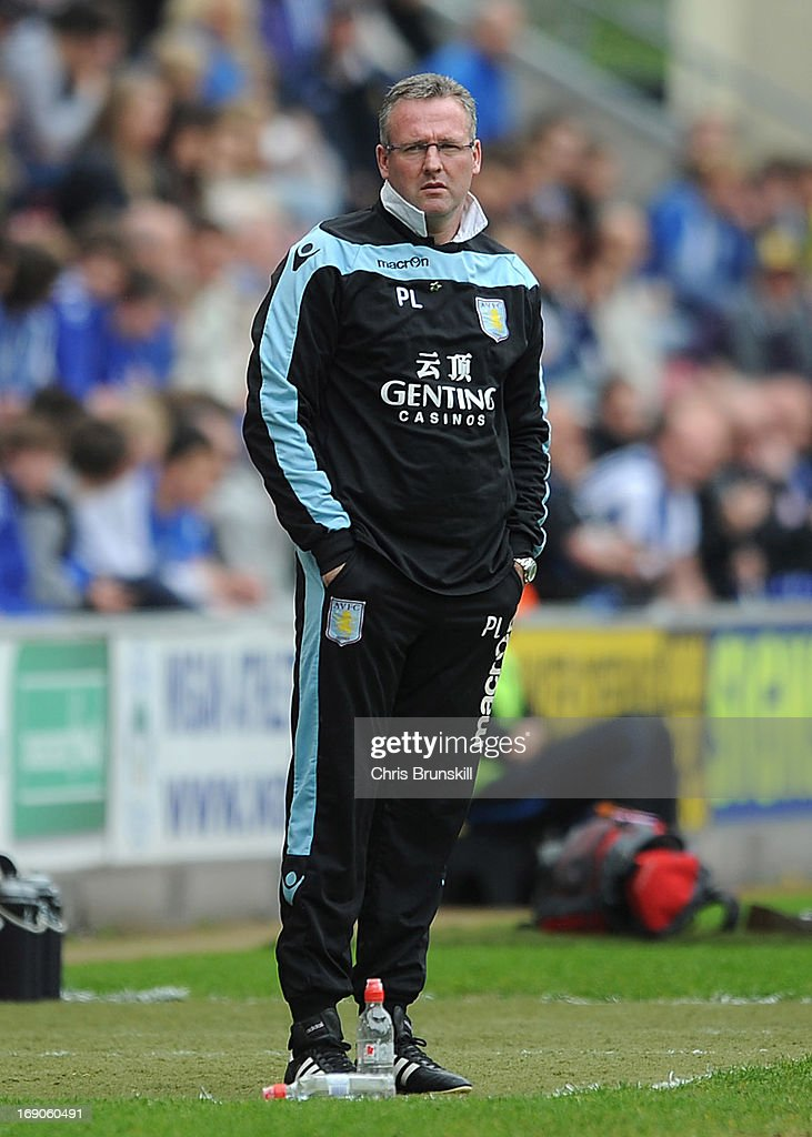 Aston Villa manager Paul Lambert looks on during the Barclays Premier League match between Wigan Athletic and Aston Villa at DW Stadium on May 19, 2013 in Wigan, England.