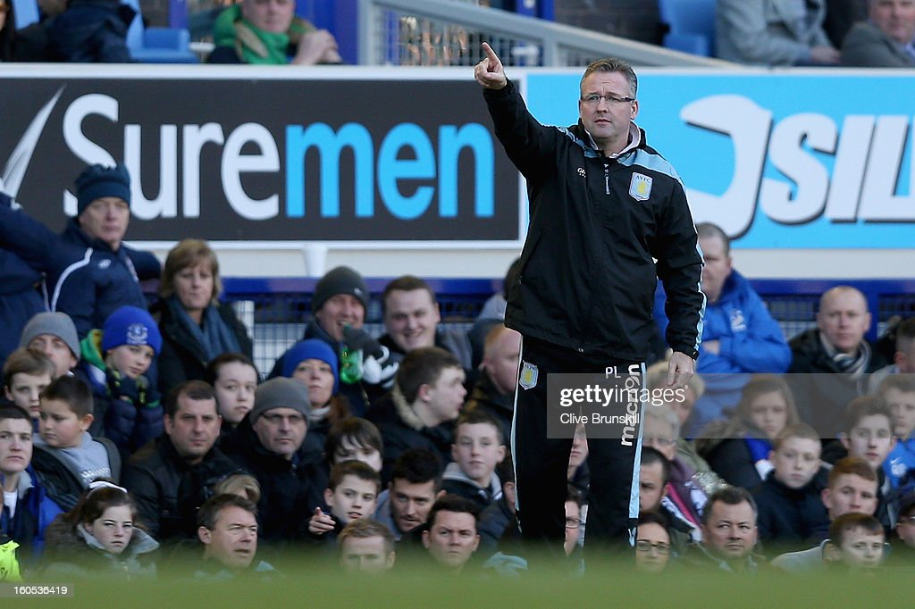 Aston Villa manager Paul Lambert shouts instructions to his team during the Barclays Premier League match between Everton and Aston Villa at Goodison Park on February 2, 2013 in Liverpool, England.