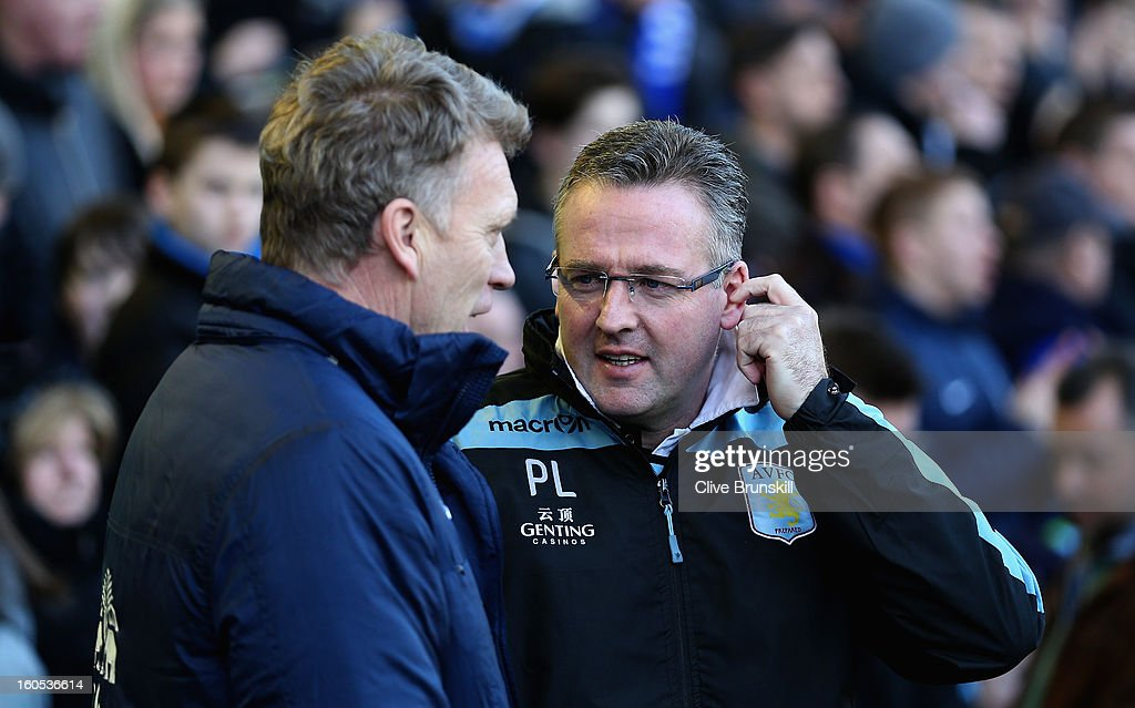 Aston Villa manager Paul Lambert with Everton manager <a gi-track='captionPersonalityLinkClicked' href=/galleries/search?phrase=David+Moyes&family=editorial&specificpeople=215482 ng-click='$event.stopPropagation()'>David Moyes</a> prior to the start of the Barclays Premier League match between Everton and Aston Villa at Goodison Park on February 2, 2013 in Liverpool, England.