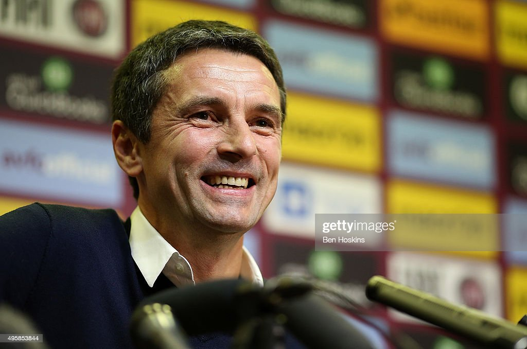 Aston Villa manager Remi Garde speaks during a press conference at Villa Park on November 5 2015 in Birmingham England